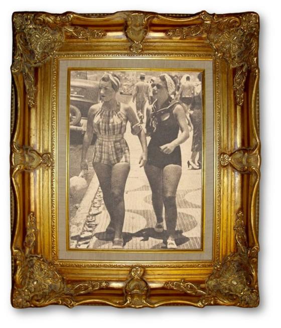 Rio Beach 1930 Carmen Miranda and Sister